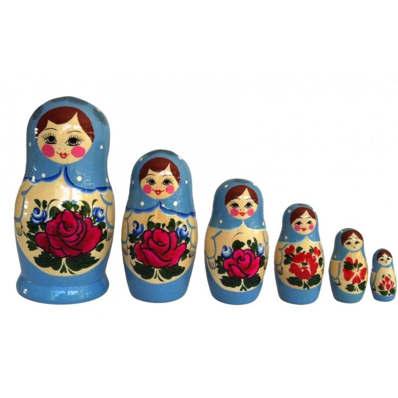 Lyseblå Babushka dukke-6