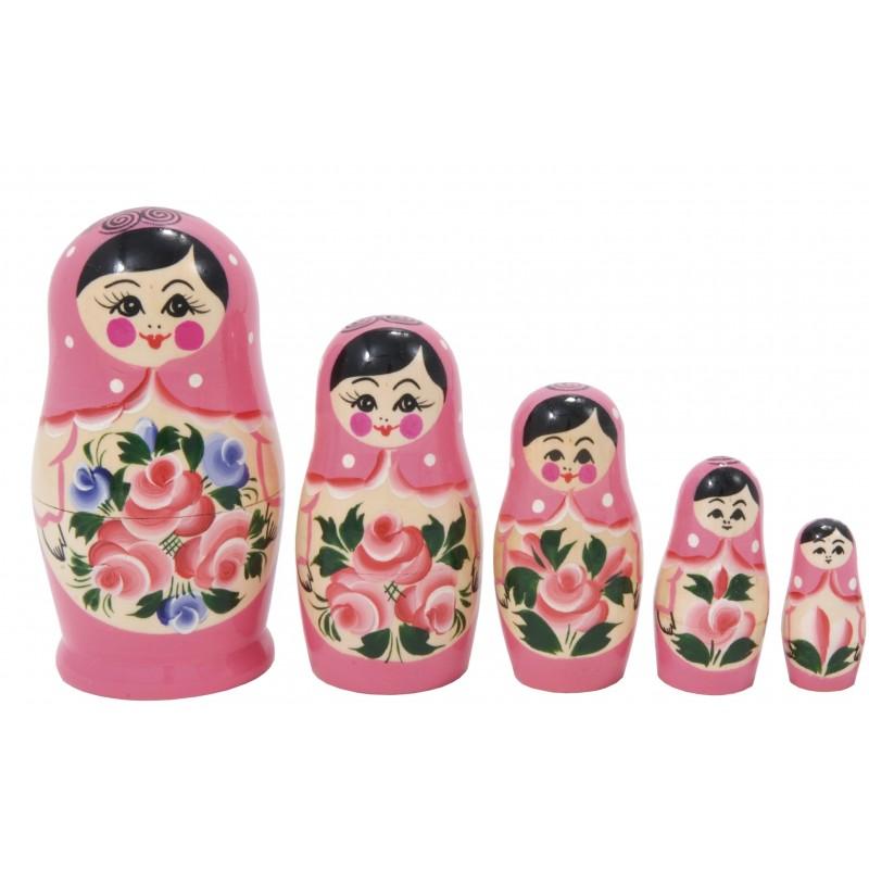 Lyserød Babushka dukke, sæt med 5