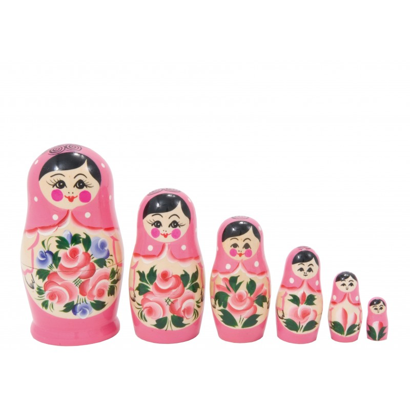 Lyserød Babushka dukke, sæt med 6
