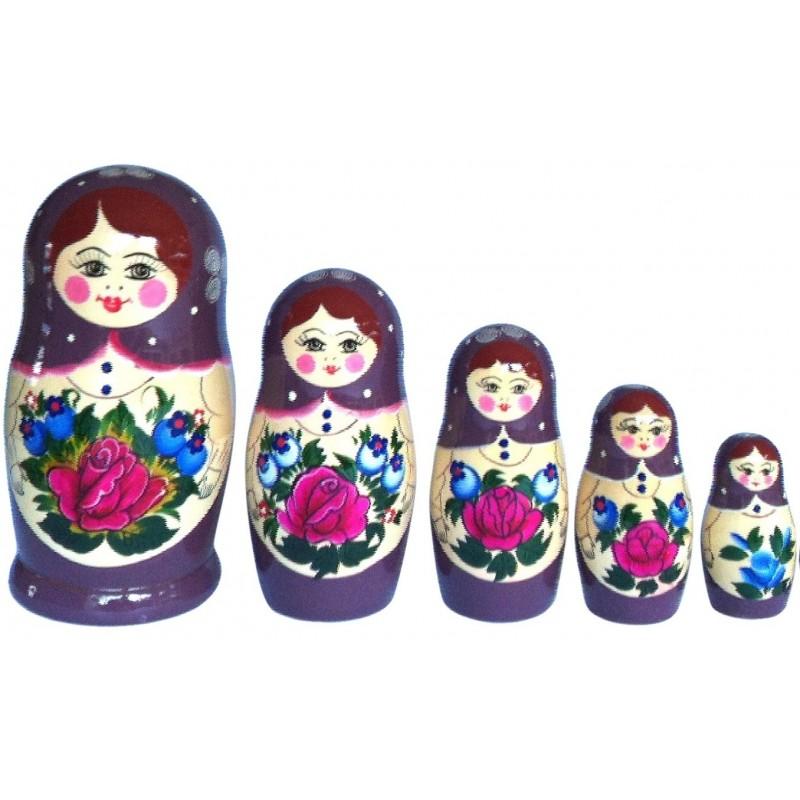 Mørklilla Babushka dukke