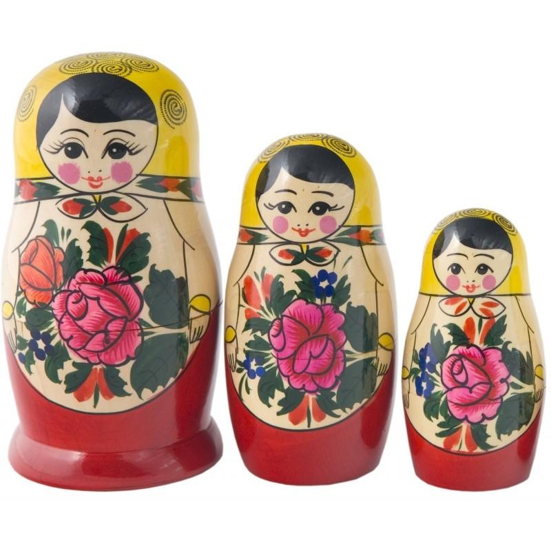 Traditionel Babushka dukke, sæt med tre dukker
