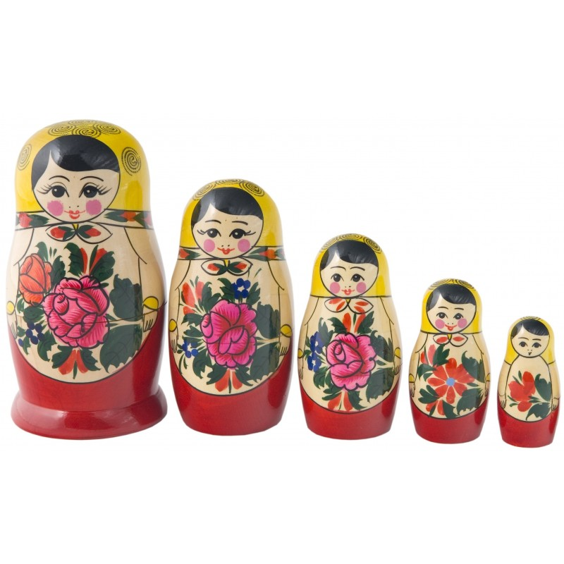 Traditionel Babushka dukke, sæt med fem dukker