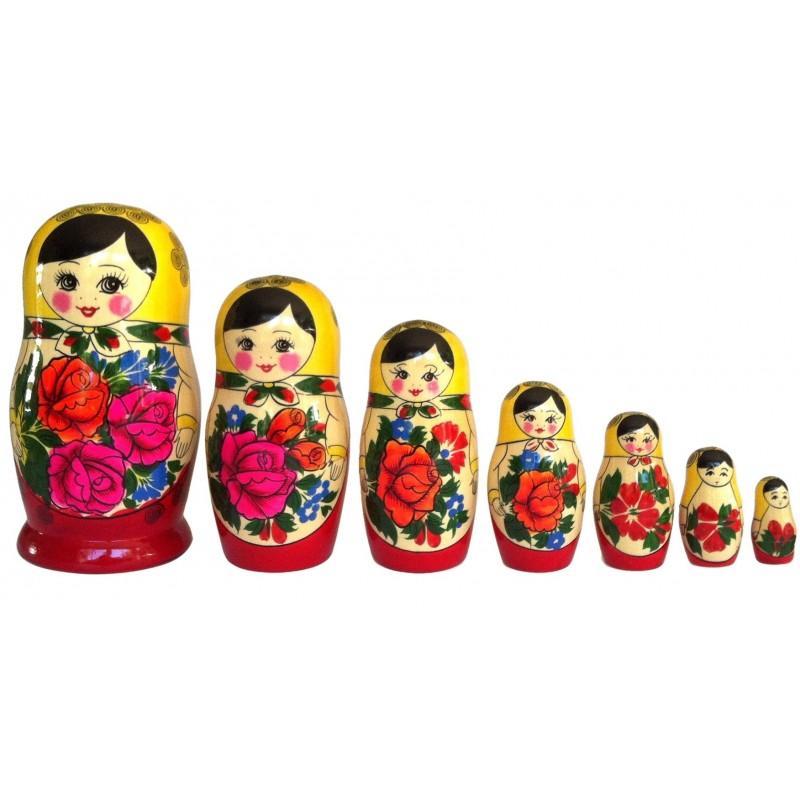 Traditionel Babushka dukke, sæt med syv dukker