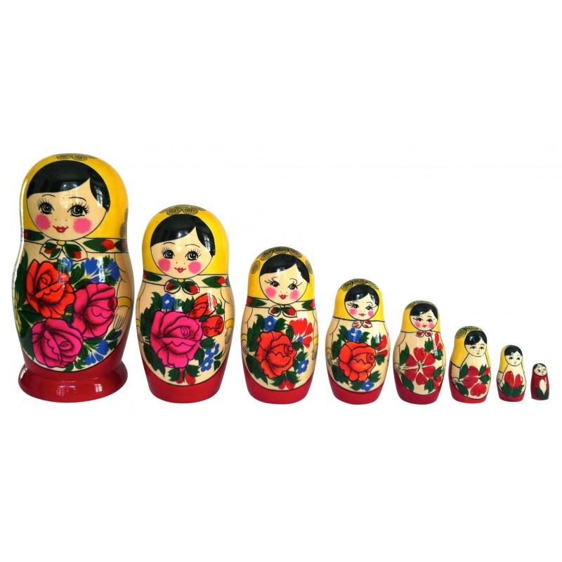 Traditionel Babushka dukke, sæt med otte dukker
