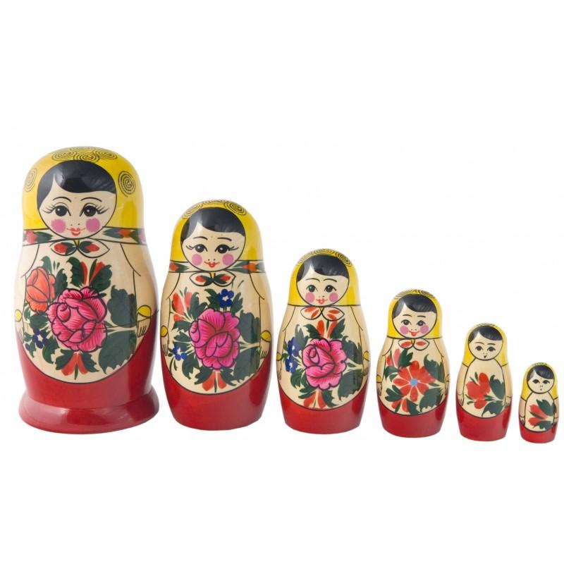 Traditionel Babushka dukke, sæt med seks dukker
