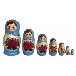 Lyseblå Babushka dukke